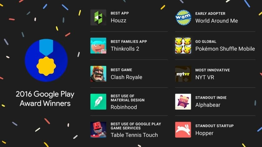 Google Play Awards winners announced: Clash Royale nabs Best Game, Houzz Best App