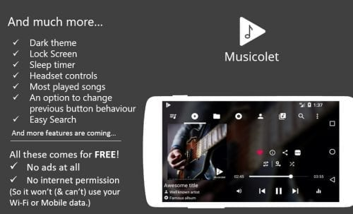 Musicolet - 5 of the best free Android music players for you to use in 2019