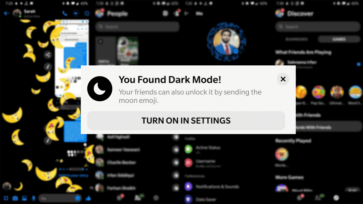 You can now switch to dark mode in Facebook Messenger. Here's how to get dark mode: send a crescent moon to a friend, repeated tap on the...