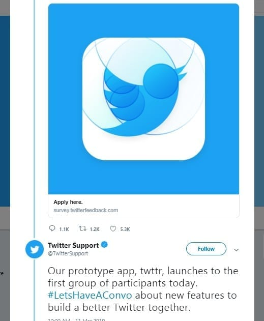 """Twitter launches its new prototype app """"Twttr"""" to improve conversations"""