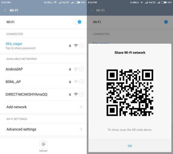 Android 10 WiFi password sharing feature