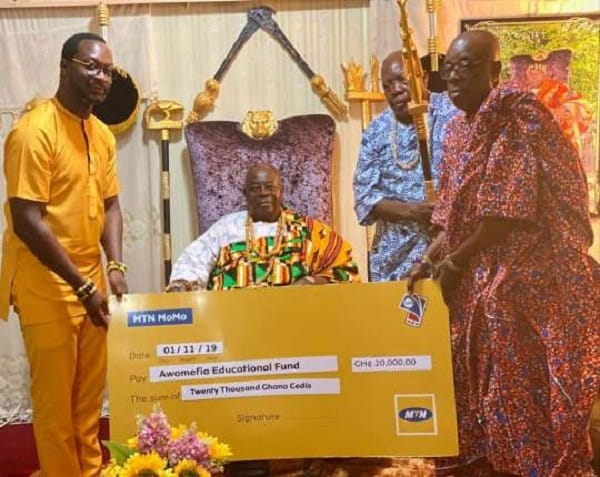 MTN Heritage App; MTN CEO making a donation
