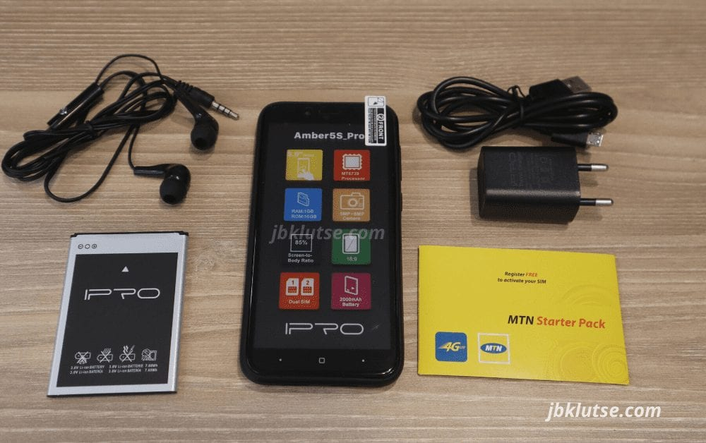 mtn amber 5s ipro ghana 4g smartphone unbox affordable phone sim charger cable usb head