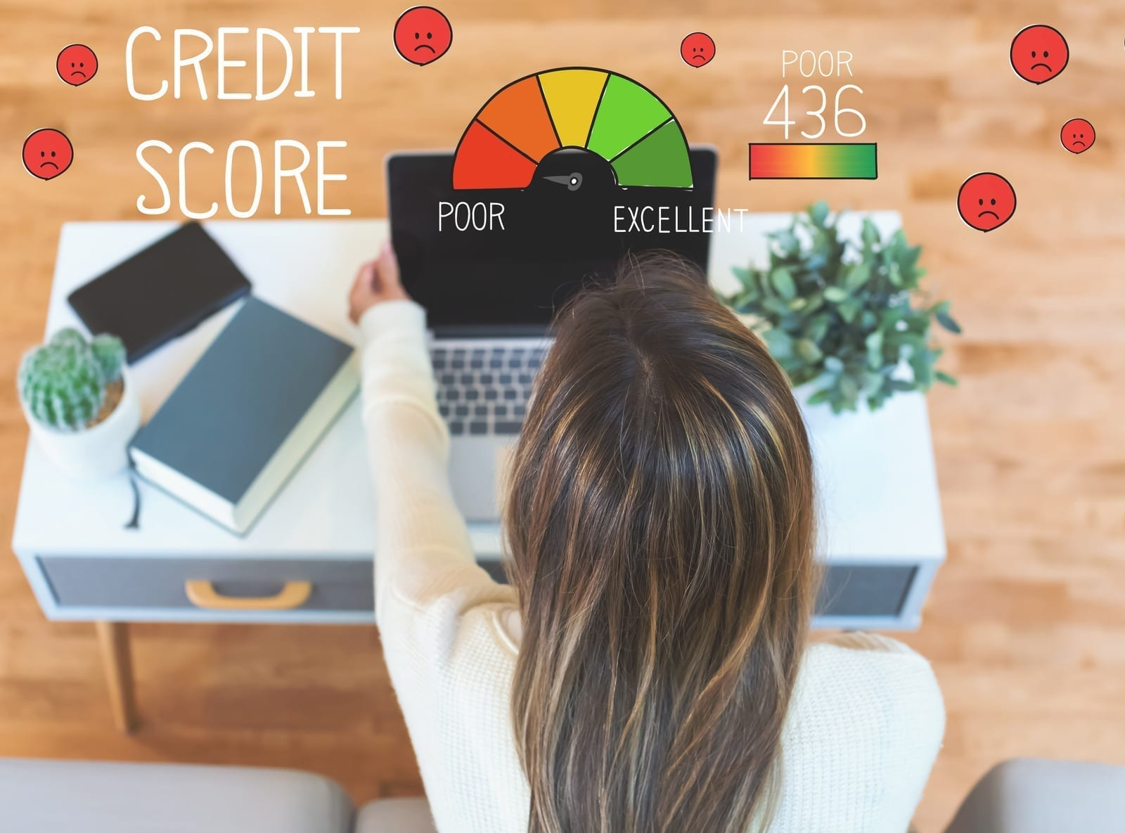 Poor Credit Score with woman using her laptop computer