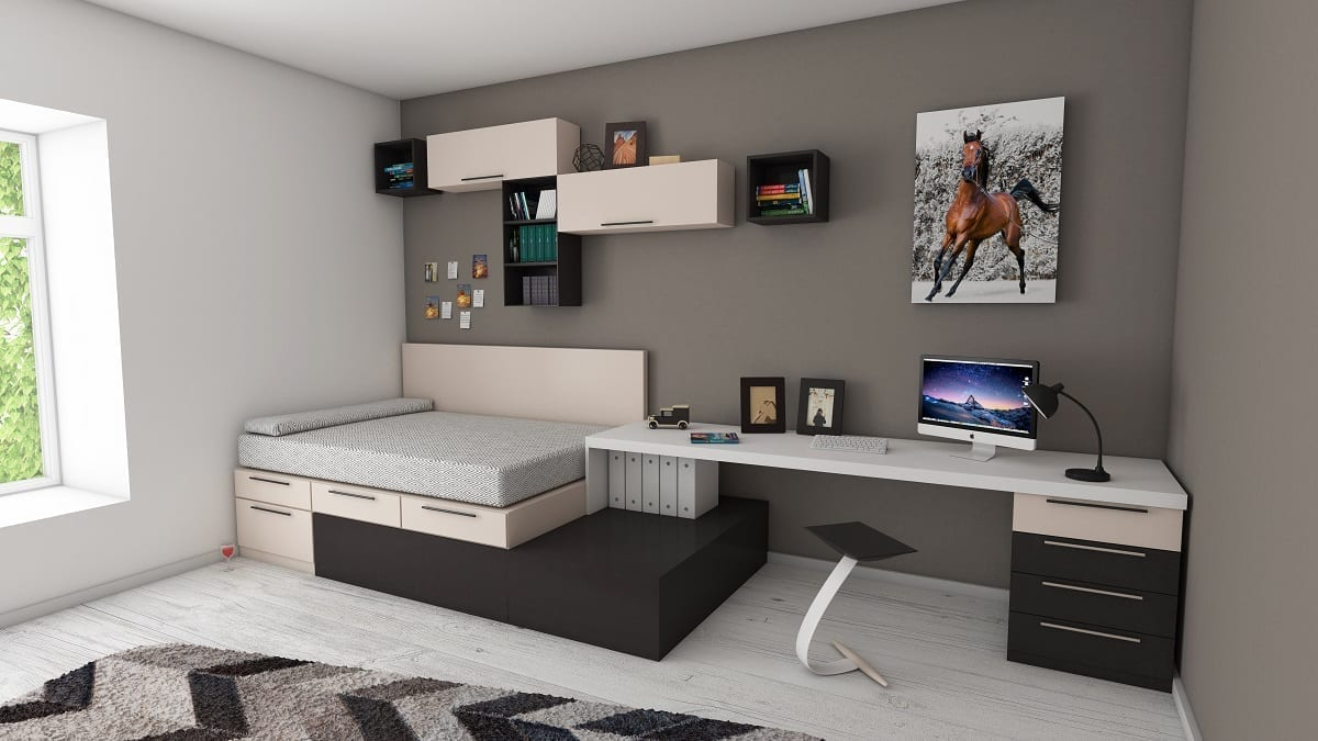 Interior decor White and Black Desk Beside Bed and Window