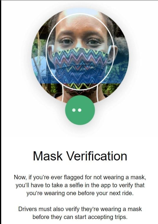 Uber introduces mask verification feature