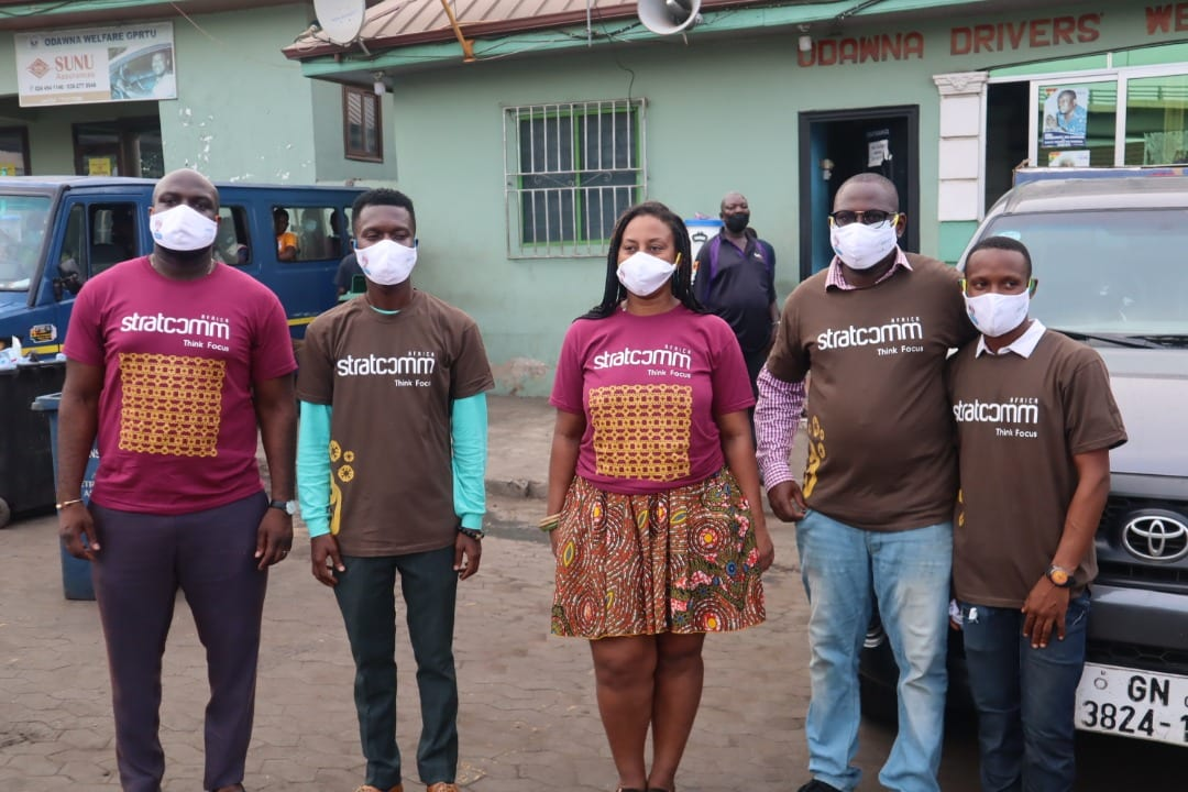 Stratcomm Africa drives home the COVID-19 prevention message: Donates facemasks to trotro drivers and mates
