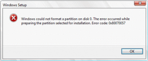 Windows could not format a partition on disk 0