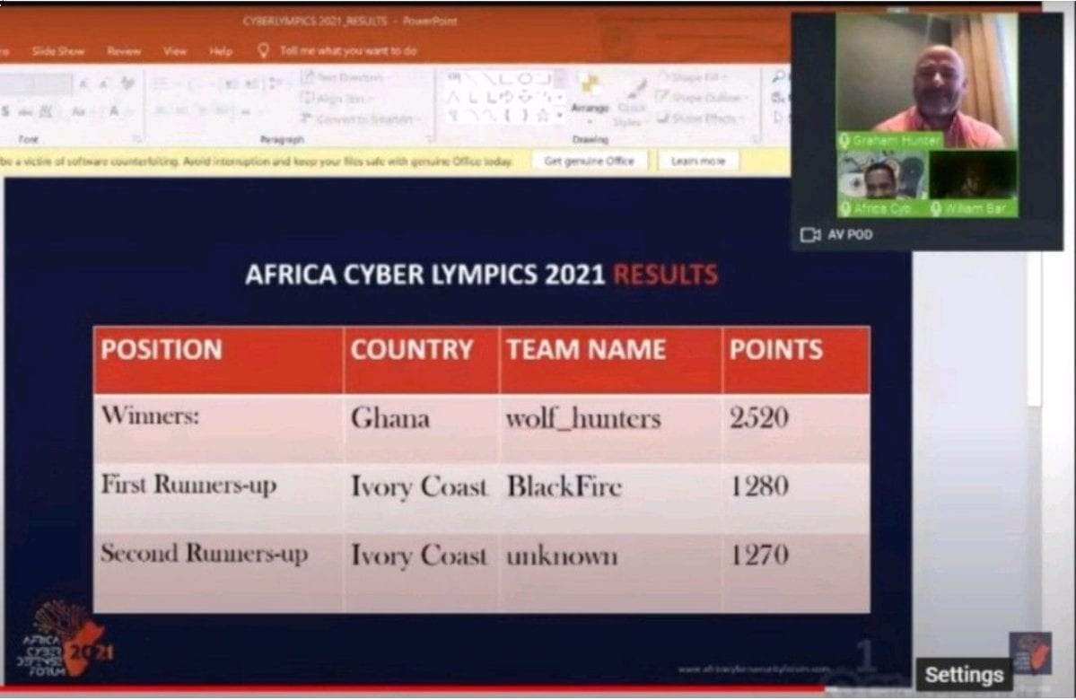 Ghana's wolf_hunters take top honours in the Africa Cyber Defense Forum's Cyberlympics 2021
